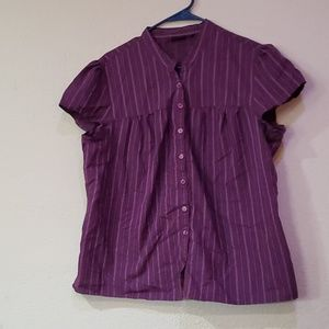 A.N.A purple striped button up shirt blouse top 1X